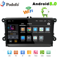Podofo 2 din car radio Android 8.0 Autoradio 9 HD Touch Screen gps navigation Bluetooth Multimedia USB wifi MP3 Car MP5 Player