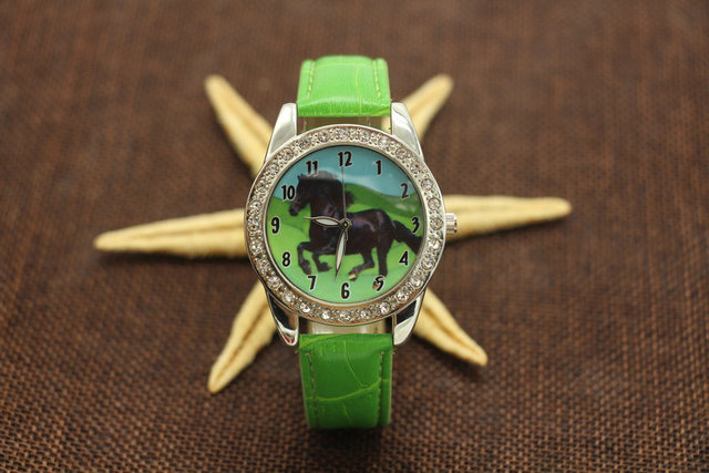 Free Shipping, 10pcs New Popular Black Horse Women Boy Watch Leather Quartz Move