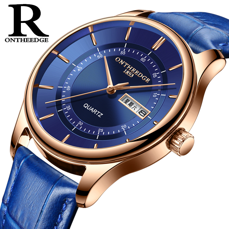 8f0e784079 2018 Rose Gold Watch Aqua Blue Simple Dial Ultrathin Thickness Date and  Week English Display Waterproof Women Men's New Watch
