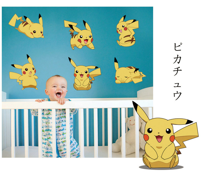 Hot Welcome Game Cartoon Pokemon Monster Wall Stickers Fridge Computer Toilet Tiny Sticker Kids Bedroom Living Room Decor Diy