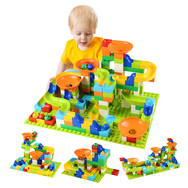 56-224Pcs Big Size Brick Marble Race Run Maze Ball Track Diy Building Blocks Compatible Duploed Plastic Block Toys For Children