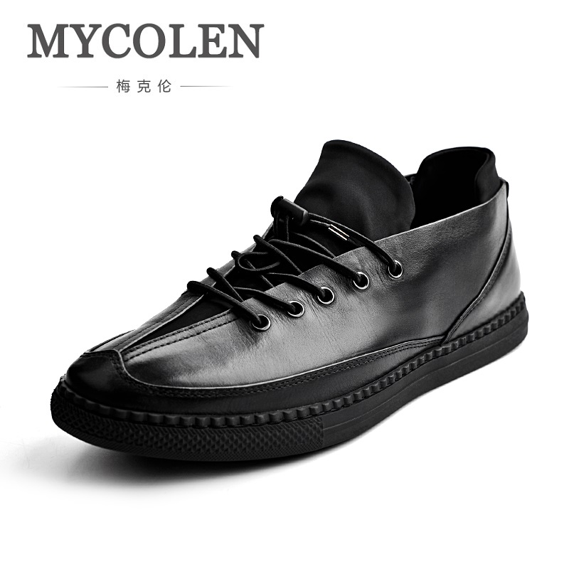 MYCOLEN 2018 Spring Autumn Genuine Leather Men Shoes Denim Lace-Up Men Shoes New Plimsolls Breathable Male Shoes Deportivas ege brand handmade genuine leather spring shoes lace up breathable men casual shoes new fashion designer red flat male shoes