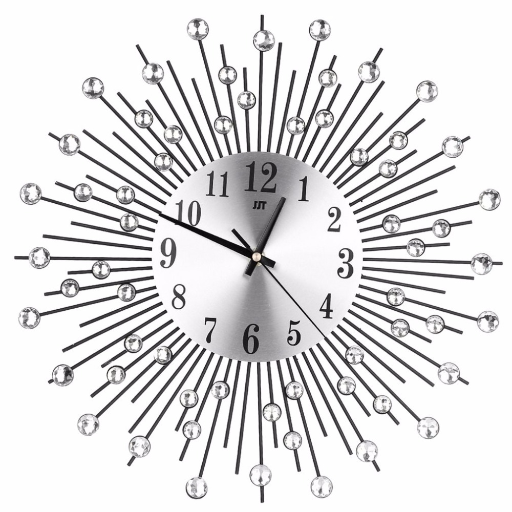 Online shop modern art large wall clock metal sunburst clear online shop modern art large wall clock metal sunburst clear diamante crystal mute wall clock home decor for living room bedroom aliexpress mobile amipublicfo Choice Image