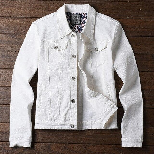 2018 Nouveau Printemps Automne Hiver Denim Veste Hommes De Mode Streetwear Jeans  Blanc Veste Coton a05d122ca967