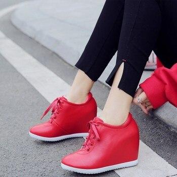 New 2019 Autumn Black Red Hidden Wedge Heels Casual Shoes Spring Women's Elevator High-heels Boots Women Sneakers 10cm Heels