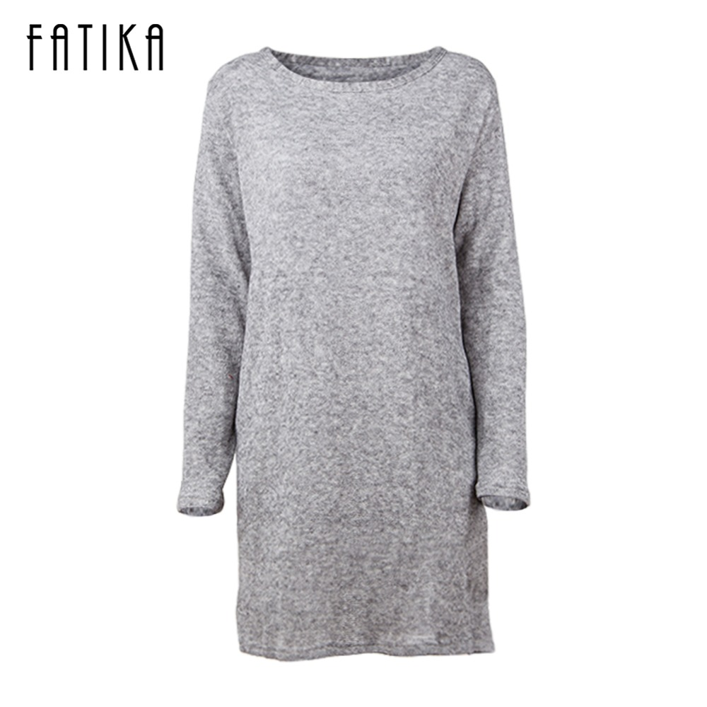 FATIKA 2017 Autumn Winter Women High Street Solid O Neck Knitted Mini Dress Long Sleeves Pockets Loose Dresses For Female