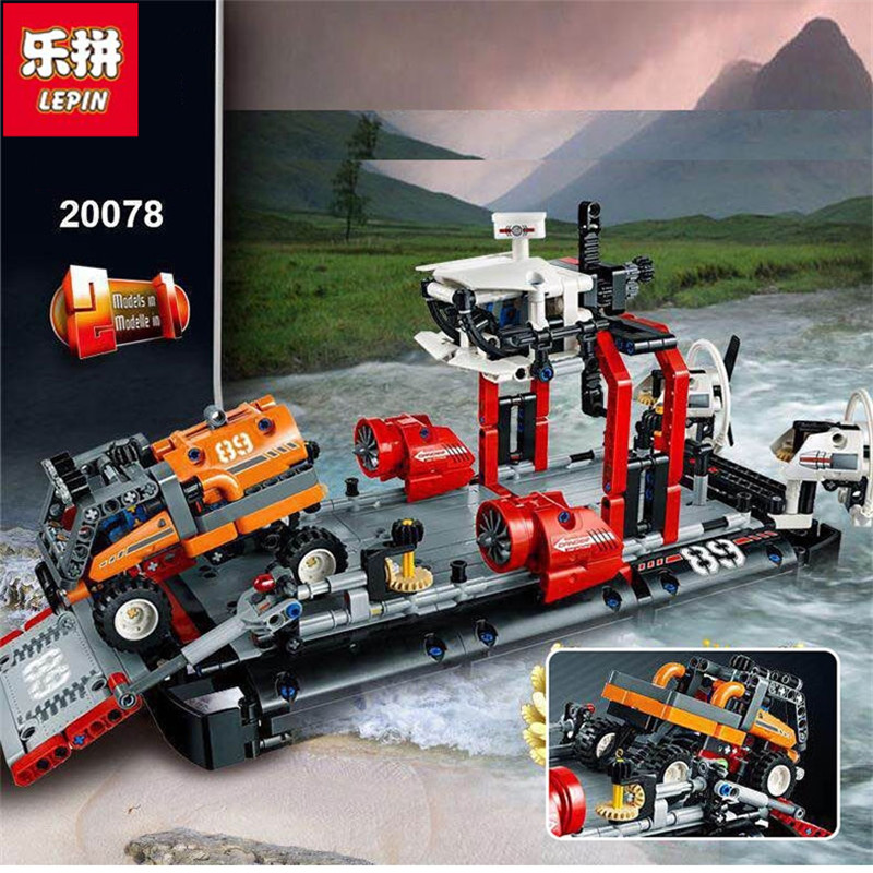 Lepin 20078 New 1101Pcs Technic Series The Hovercraft Set Compatible 42076 Model Building Blocks Bricks Toys For Kids As Gifts lepin 20031 technic the jet racing aircraft 42066 building blocks model toys for children compatible with lego gift set kids
