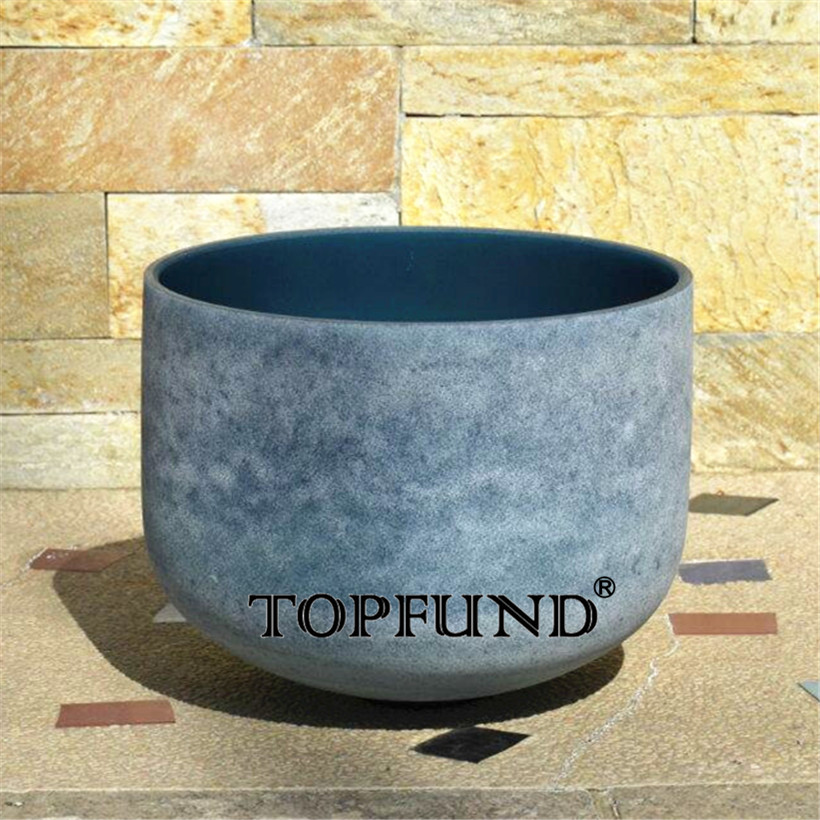 TOPFUND Sapphire Fusion Perfect Pitch E Note Solar Plexus Chakra Frosted Quartz Crystal Singing Bowl 10