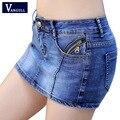 Новинка 2017, летние джинсовые юбки-шорты для женщин, плюс размер, винтажные короткие джинсы, женские модные джинсовые шорты, юбка, Feminino, плюс размер, XXXL - фото