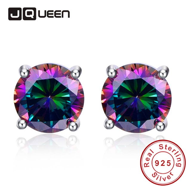 JQUEEN 4.65 g Silver 925 Jewelry Colorful Rainbow Topaz Ear Studs Nail Small Rou