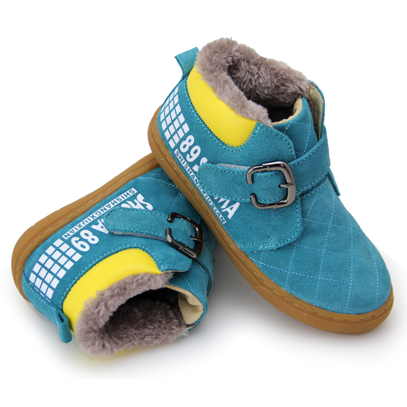 2018 New Winter Children Shoes Cow suede Leather Martin Boots Kids Snow Boots Brand Girls Boys Rubber sole Ankle Boots 2016 winter children genuine leather boots brand boys cotton buckle shoes fashion ankle martin boots for kids
