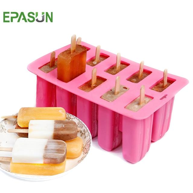 EPASUN 10 сетки силиконовая форма для изготовления мороженого Форма Popsicle холодный замороженный поднос для льда шайба форма для мороженого мусс форма инструмент для приготовления мороженного