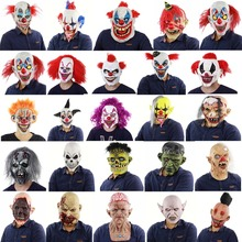 Scary Evil Clown Mask,Double Face Latex Rubber Mask Halloween Costume (Blood) With Hair for Adults Masks