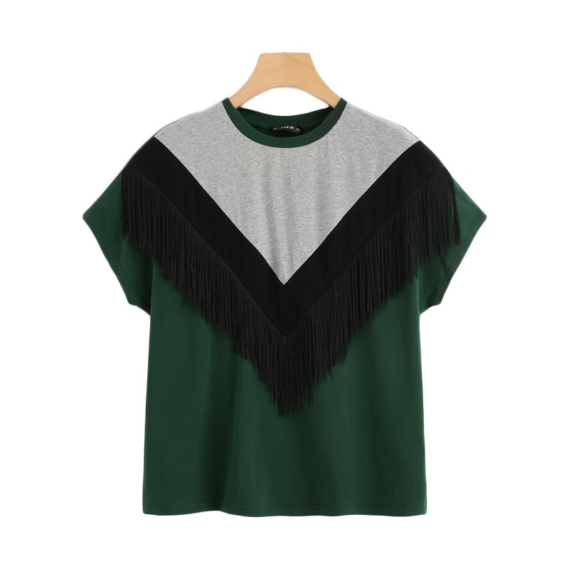 1b848a6034a2 ROMWE Cut And Sew Fringe Top 2019 Fashion Chevron Women Round Neck Clothes  T Shirt Colorblock