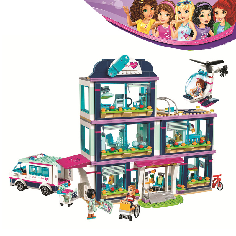 Bela Girls Friends Heartlake City Hospital 887pcs 41318 Building Blocks DIY Bricks Toys for Children Compatible Legoe Lepine 10494 city supermarket building bricks blocks set girl toy compatible lepine friends 41118