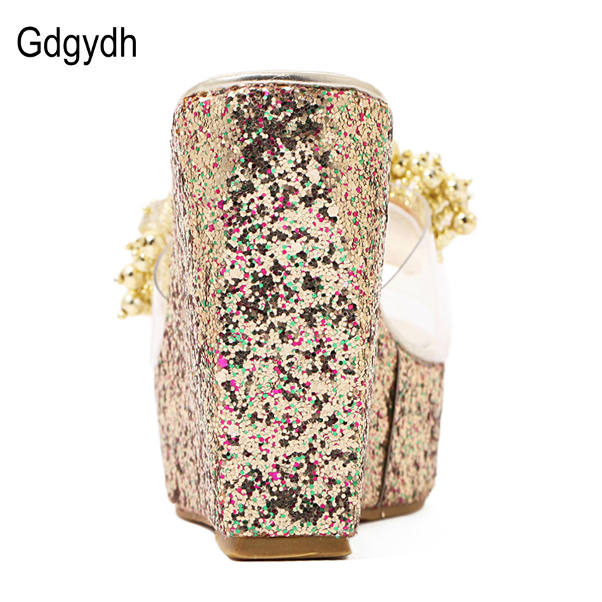 Image 3 - Gdgydh Rhinestone Wedges Sandals Women 2019 Summer Sexy Trifle Slides Casual Beading Open Toe Female Sandals Platform Shoes-in High Heels from Shoes
