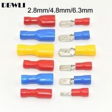 100 шт., 50 пар, 2,8 мм, 4,8 мм, 6,3 мм, женский мужской разъем для электрической проводки, ОБЖИМНАЯ Изолированная клемма, лопата, FDFD2-250, MDD2-250