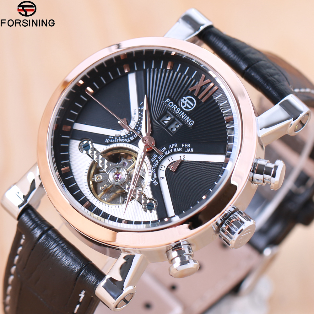 FORSINING Brand Men watches Automatic mechanical watch tourbillon Sport clock leather Casual business wristwatch relojes hombre цена