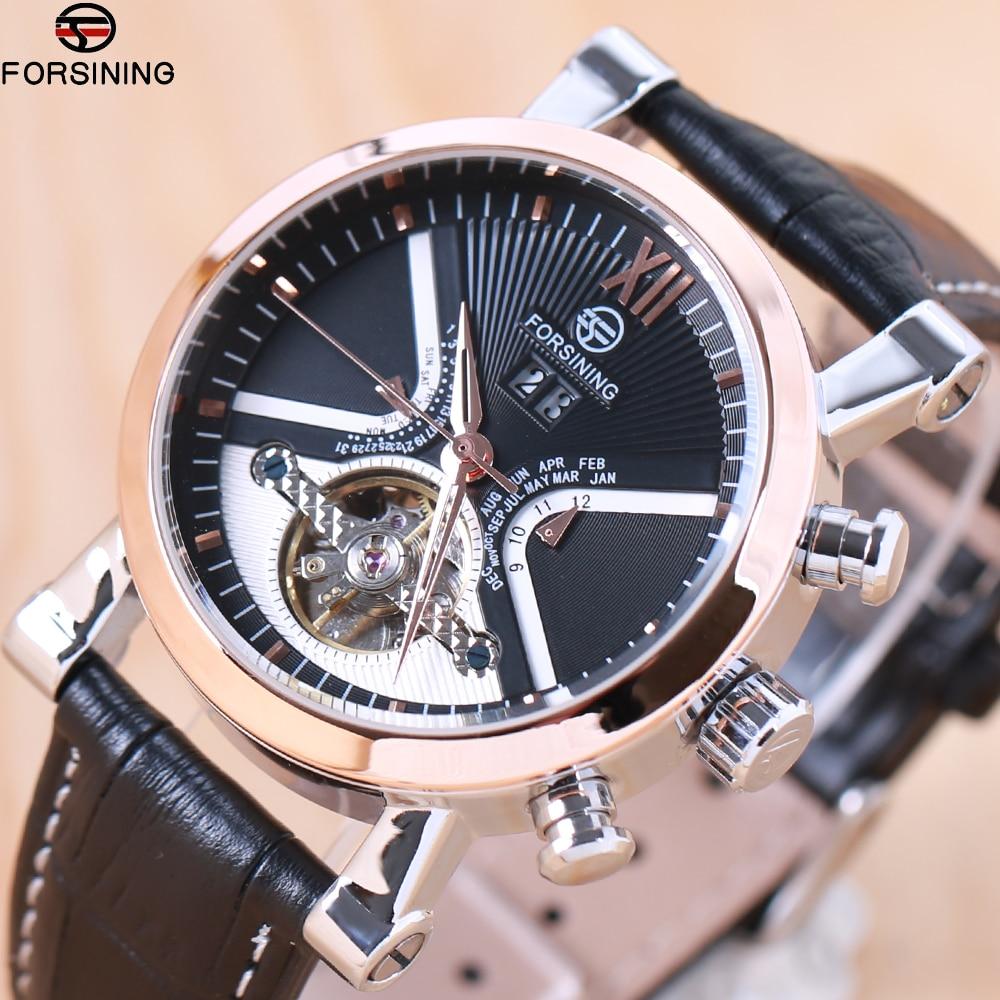 FORSINING Brand Men watches Automatic mechanical watch tourbillon Sport clock leather Casual business wristwatch relojes hombre все цены