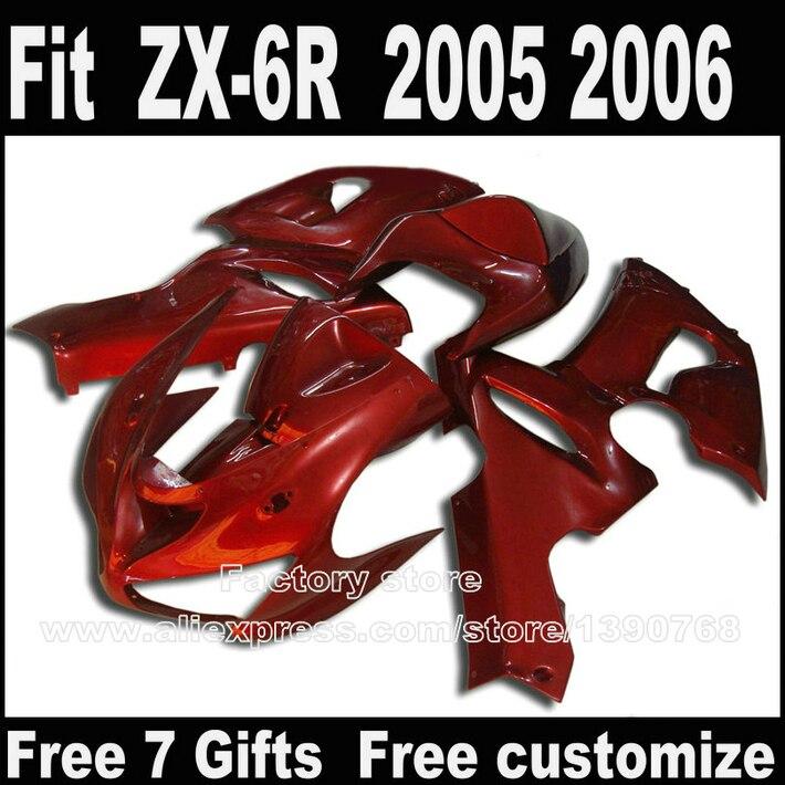 Hot sale motorcycle body kit for Kawasaki ZX6R fairings 2005 2006 all red ZX-6R 05 06 Ninja 636 customize fairing kits +7gifts