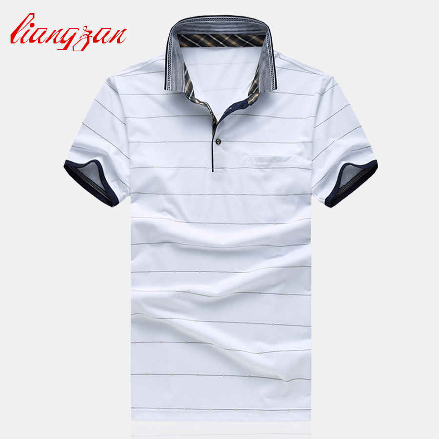 Men Stripe Polo Shirts Summer Short Sleeve Casual Slim Fit Big Size M-6XL Breathable Brand Business Cotton Polo Shirts SL-G15