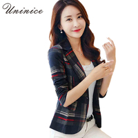 2016 Women Blazers Jackets Blue Red Plaid Blazer Women Blaser Coat Casual One Button Outerwear Short