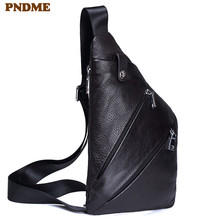 PNDME casual simple black genuine leather mens chest bag designer daily high quality soft oil wax cowhide phone messenger bags