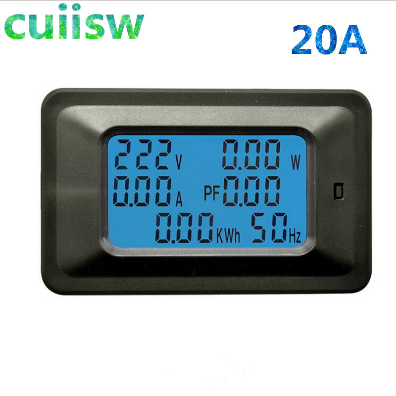 AC220V 20A Digital Voltage Meter Energy Meter LCD 5KW Power Voltmeter Ammeter Current Amps watt meter tester detector indicatorAC220V 20A Digital Voltage Meter Energy Meter LCD 5KW Power Voltmeter Ammeter Current Amps watt meter tester detector indicator