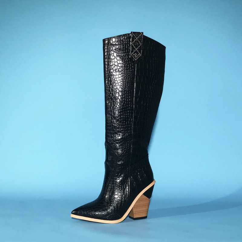 Yellow Black White Faux Leather Cowboy Boots for Women Knee High Boots Western Long Boots Women