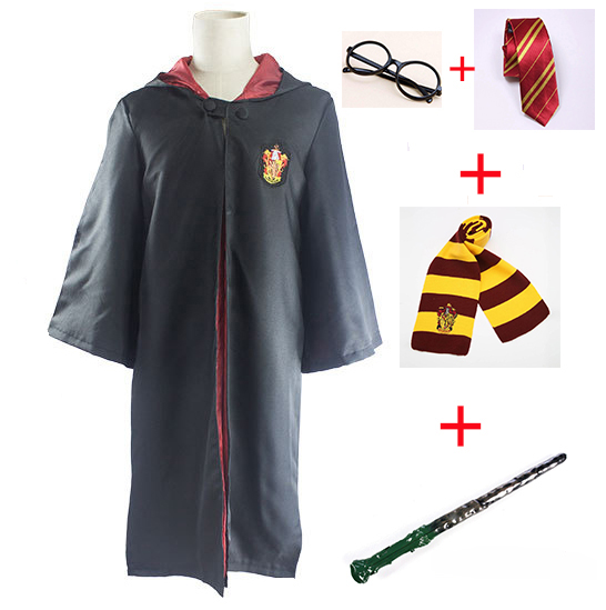 Cosplay Costumes Harri Potter Robe Cape Cloak with Tie Scarf Wand Glasses Ravenclaw Gryffindor Hufflepuff Slytherin Robe