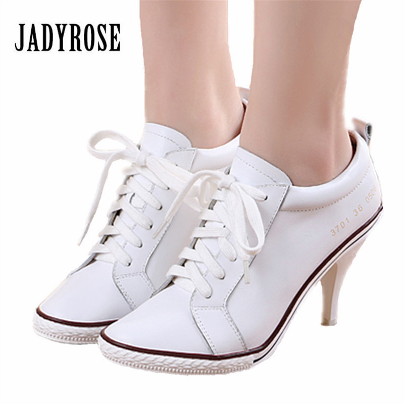 Jady Rose White Women Genuine Leather Ankle Boots Lace Up High Heels Female Autumn Platform Short Booties Women Pumps daidifen 2017 autumn winter women ankle boots high heels lace up leather double buckle platform short booties new plus size 48