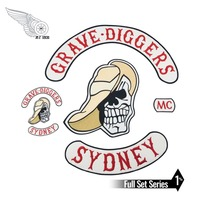Embroidery GRAVE DIGGERS MC Club patch Biker Vest iron on Patches for Jacket Motorcyle item applique