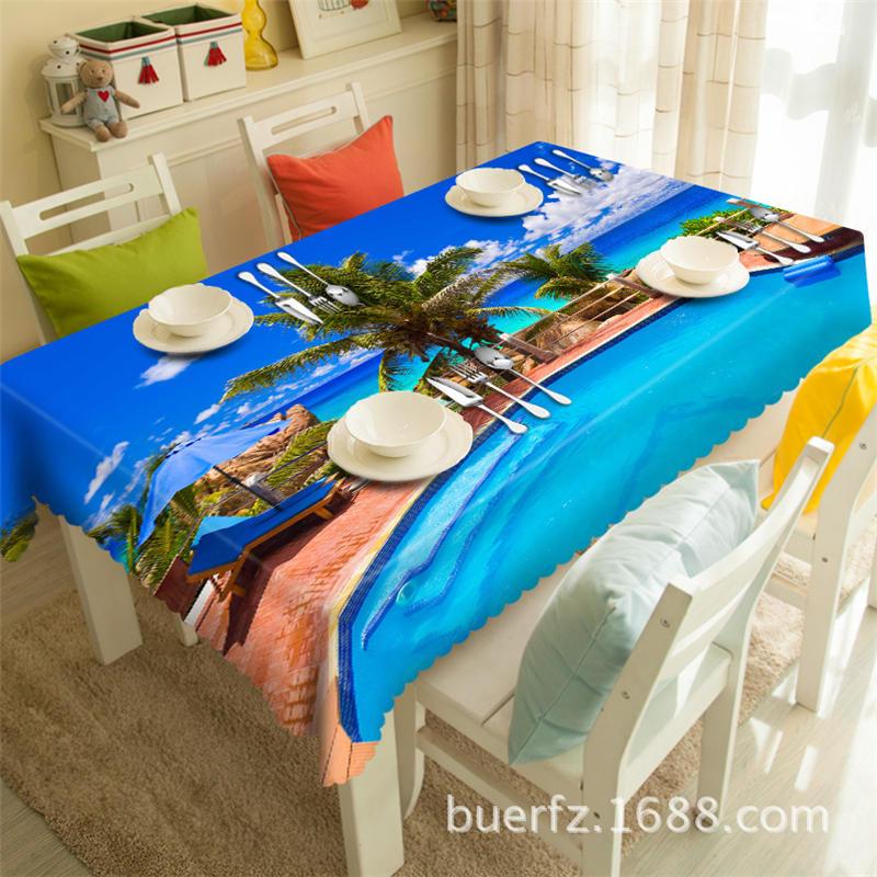 Swimming Pool 3d Printing Rectangular Tablecloths