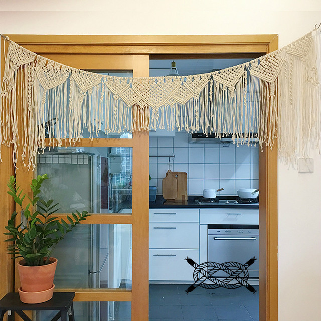 180cm X 60cm Macrame Hand Woven Rope Tapestry Wall Hanging Door Curtain  Tapestry Nordic Style