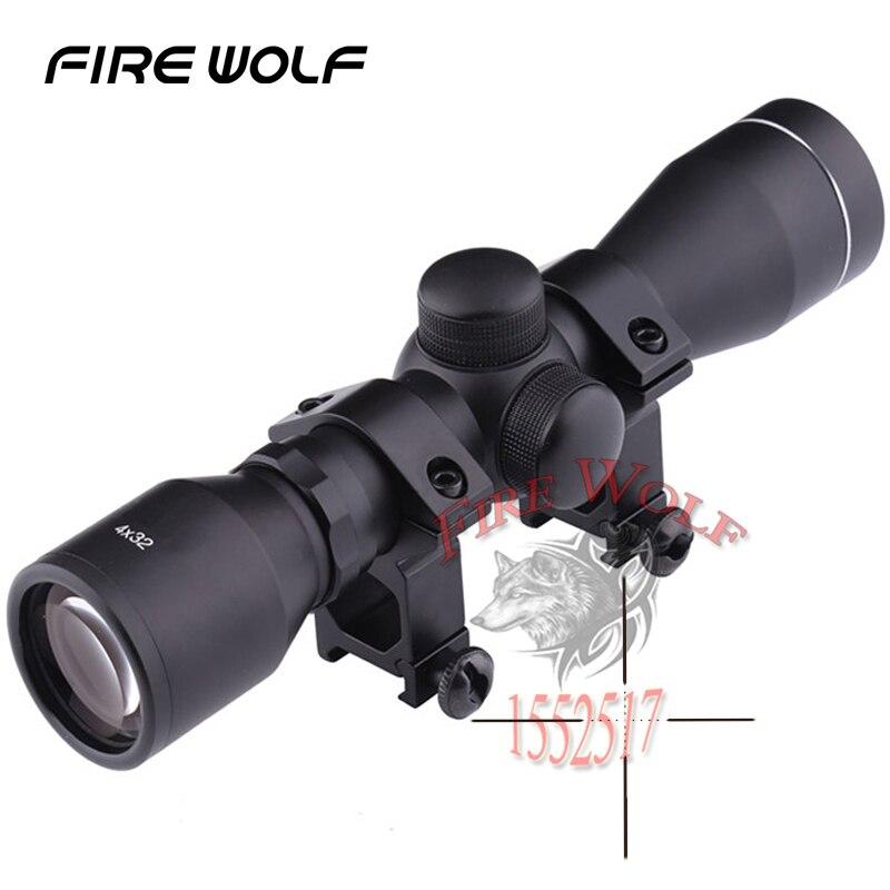 Hunting Optics 4x32 Airsoft Optical Rifle Scope Sight With Rail Mount Telescope Binoculars Luneta Para Rifle Telescope Airsoft