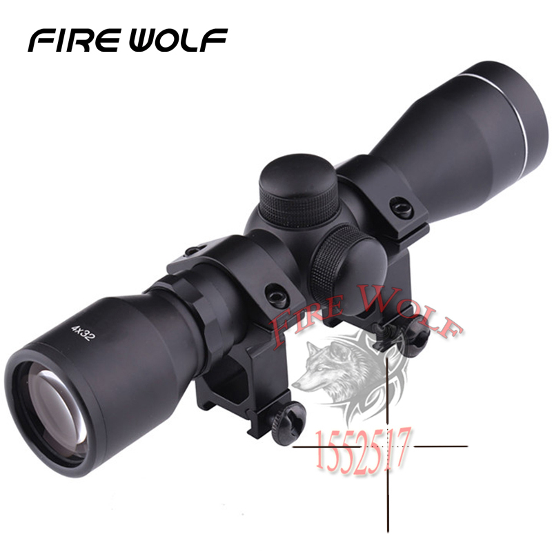 Hunting 4 x 32 Telescope Airsoft Reticle Sight Scope with 11//20mm Rail Mount