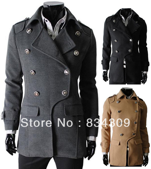 2013 New Mens Trench Coats Classic Double-Breasted Pea Coat Men's Man Overcoat Lapel Fashion Outwear Korean 3 Colors - trend vogue store