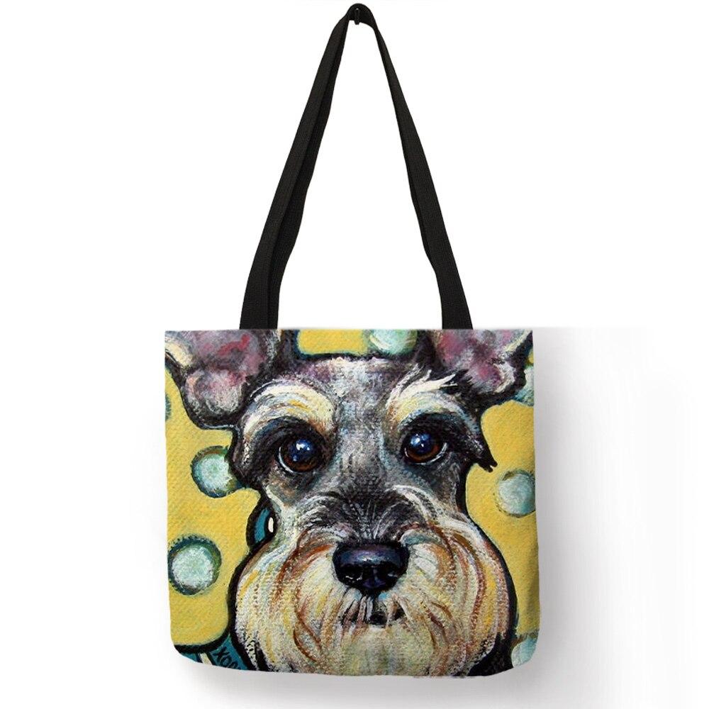 Dropship Schnauzer Dog Painting Handbags For Women Lady Shoulder Bag Casual Shopping Traveling School Bags Large Capacity