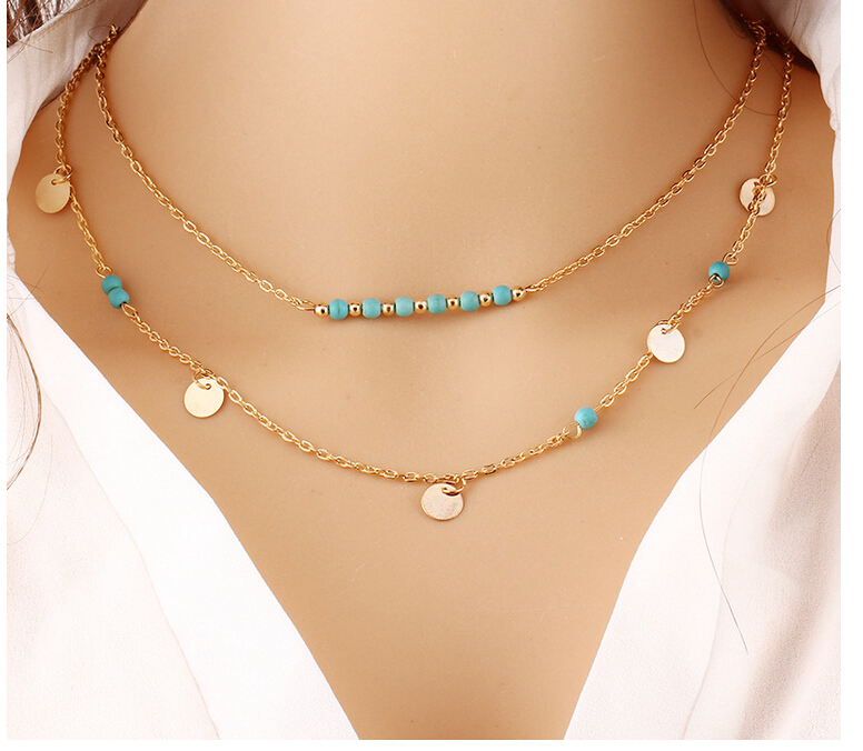 Boho Chain Necklaces Multilayer Gold Coin Bead Double