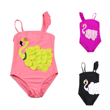 2019 New Swimsuit Children One Piece Swimwear  Pretty Embroidery Swan Ruffled Shoulder for Girl Baby Bathsuit
