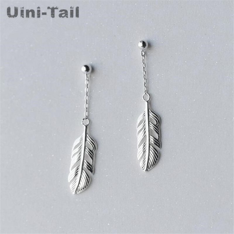 Hot 925 sterling silver Korean sweet feather long earring temperament simple personality short paragraph earring earrings