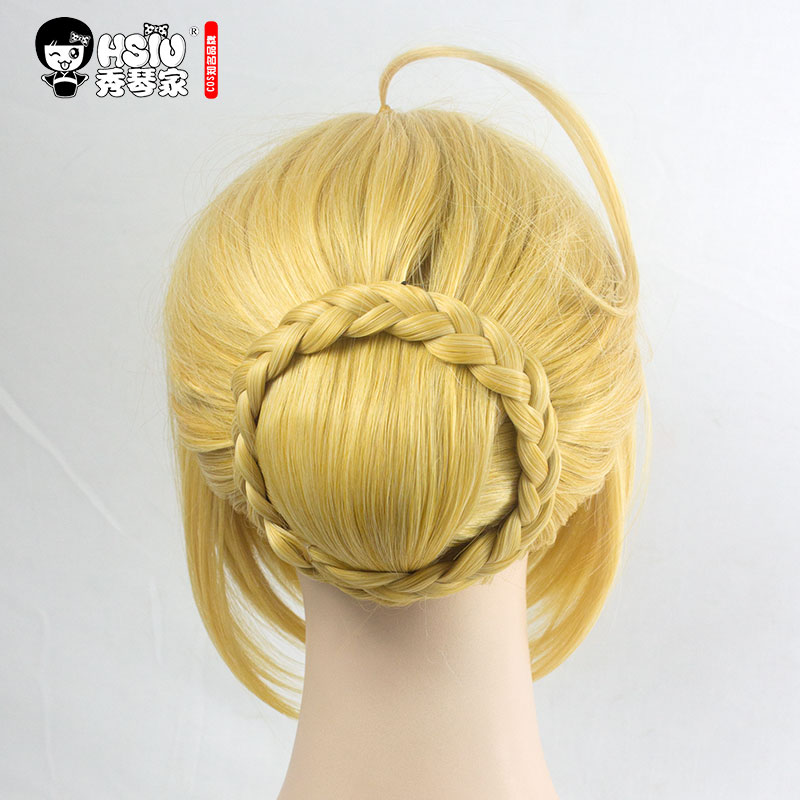 Image 4 - HSIU NEW High quality Saber Arturia Pendragon Cosplay Wig of Fate Costume Play Wigs Halloween Costumes Hair free shipping-in Anime Costumes from Novelty & Special Use