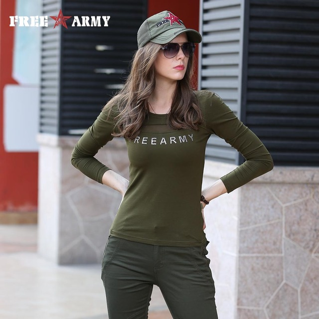 brand tee shirt women military fashion shirt casual t shirt femme o neck tshirt army green tee shirts free shipping GS-8512A