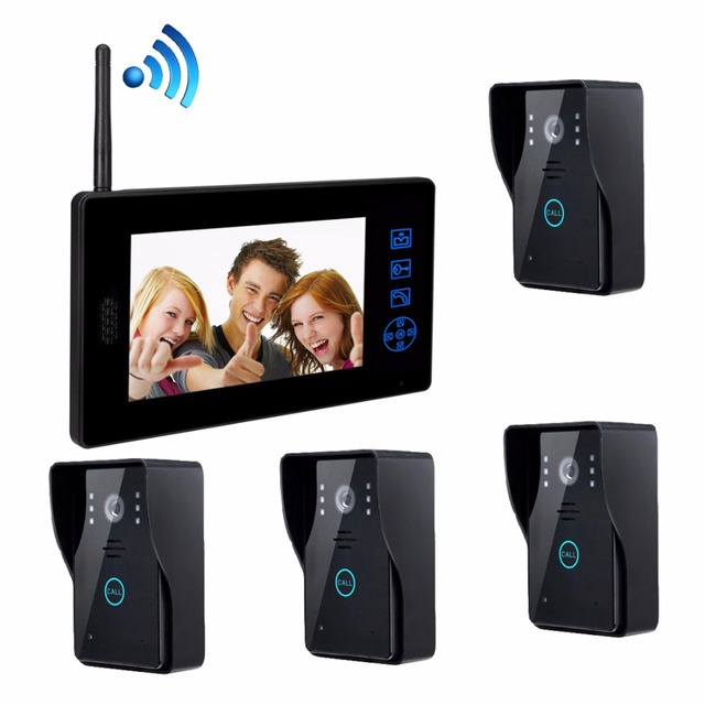 "Newest Four to one video door phone HD 7"" Color  Video Intercom Door Intercom Doorphone IR Night Vision Camera Doorbell"