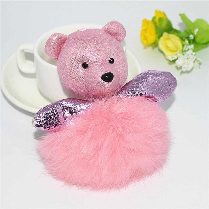 Las mujeres de piel de oso Mini llavero de piel de conejo bola bolsa clave anillo de joyería de moda de peluche bolso Accesorios