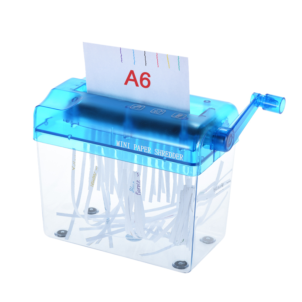 A6 Manual Hand Paper <font><b>Shredder</b></font> Document File Handmade Straight Cutting Machine Tool for School Office Home Use Blue Color