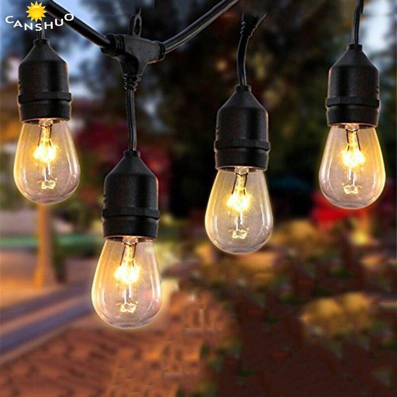 DHL ретро открытый Водонепроницаемый 15 м светодиодный свет шнура E27 S14 2 Вт Эдисон лампа накаливания Street патио Рождество праздник освещения