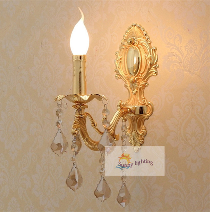1 pcs modern Gold crystal Wall lamp abajur vintage led  wall Sconce lighting bedroom indoor wall crystal lighting Free shipping mirror high quality k9 crystal led wall lamp sconce post modern coffee shop decatarion lighting fixture indoor wall lamps abajur