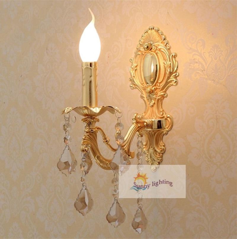 Home 1 pcs Gold crystal Wall lamp led Vanity lighting vintage led  wall Sconce bedroom indoor wall crystal lighting E14 abajur  title=