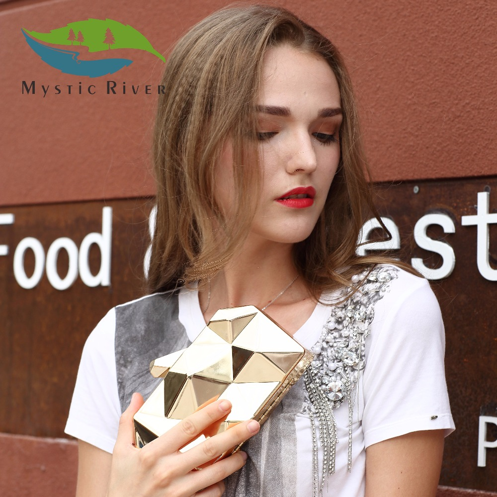 купить  Mystic River Women Metal Clutches Top Quality Hexagon Mini Party Black Evening Purse Silver Bags Gold Box Clutch  недорого